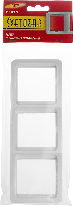 "Панель СВЕТОЗАР ""ГАММА"" тройная вертикальная, цвет белый ,  ( SV-54149-W )"