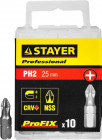 "Биты STAYER ""PROFESSIONAL"" ProFix Phillips, тип хвостовика C 1/4"", № 2, 25мм, 10шт,  ( 26201-2-25-10_z01 )"
