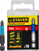 "Биты STAYER ""PROFESSIONAL"" ProFix Phillips, тип хвостовика E 1/4"", № 2, 50мм, 10шт,  ( 26203-2-50-10_z01 )"