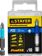 "Биты STAYER ""PROFESSIONAL"" ProFix Pozidriv, тип хвостовика E 1/4"", № 2, 50мм, 10шт,  ( 26223-2-50-10_z01 )"